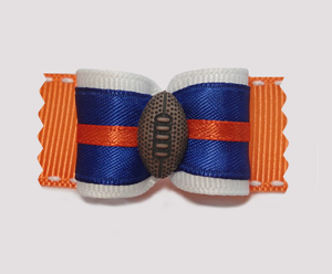 "#A7091 - 7/8"" Dog Bow - Football, Navy/Orange/White"