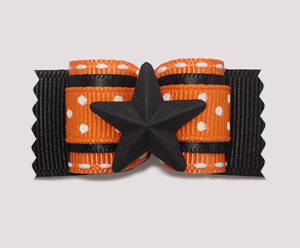 "#A7095 - 7/8"" Dog Bow - Star Power, Orange & Black w/Tiny Dots"