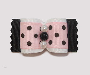 "#A7106 - 7/8"" Dog Bow - Chic Girlie, Pink/White/Black Polka Dots"