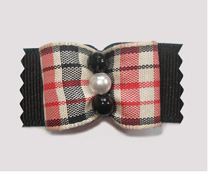 "#A7110 - 7/8"" Dog Bow - Classic Stylish Tartan, Faux Pearls"