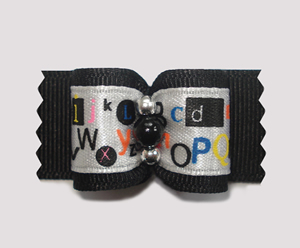 "#A7112 - 7/8"" Dog Bow - Unique 'Pop Art', Black with Letters"