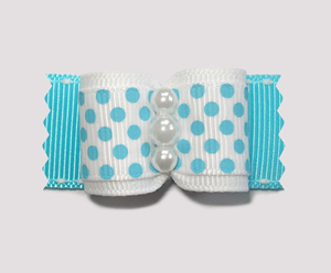 "#A7118 - 7/8"" Dog Bow - Adorable Blue & White Dots, Faux Pearls"