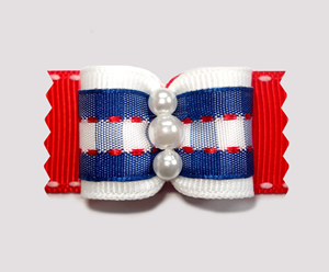 "#A7119 - 7/8"" Dog Bow - Classic Red, White & Blue Plaid, Pearls"