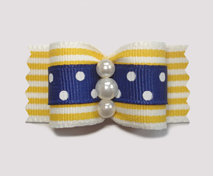 "#A7121 - 7/8"" Dog Bow - Lemonade Stripes with Navy & White Dots"
