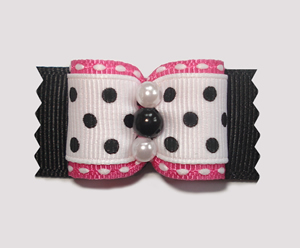 "#A7122 - 7/8"" Dog Bow - Flirty Chic Pink w/Black & White, Dots"
