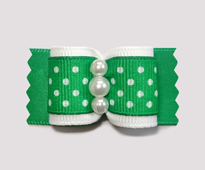 "#A7124 - 7/8"" Dog Bow - Adorable Green & White Dots, Faux Pearls"