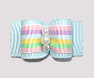 "#A7133 - 7/8"" Dog Bow - Pastel Stripes on Blue, Faux Pearls"