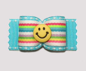 "#A7136 - 7/8"" Dog Bow - Bright Stripes on Blue, Yellow Smiley"