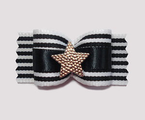 "#A7145 - 7/8"" Dog Bow - ""I'm a Star"", Chic Black & White Stripes"