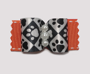"#A7152 - 7/8"" Dog Bow - Pawsitively Sweet Paws, Orange"