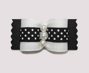 "#A7162 - 7/8"" Dog Bow - Delightful Dots, Black, Faux Pearls"