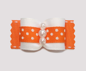 "#A7164 - 7/8"" Dog Bow - Delightful Dots, Orange, Faux Pearls"
