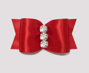 "#A7171 - 7/8"" Dog Bow - Gorgeous Classic Rich Red, Rhinestones"
