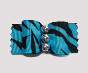 "#A7176 - 7/8"" Dog Bow - Cool Zebra, Blue w/Black, Silver Beads"