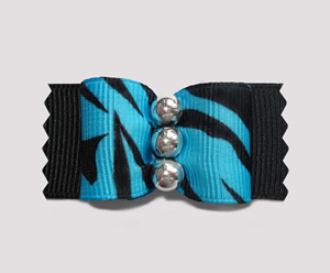 "#A7177 - 7/8"" Dog Bow - Cool Zebra, Blue on Black w/Silver"
