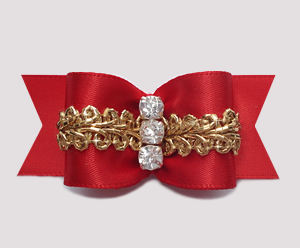 "#A7178 - 7/8"" Dog Bow - Stunning Showy Red with Ornate Gold"