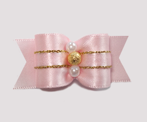 "#A7181 - 7/8"" Dog Bow - Gorgeous Baby Pink w/Gold Stardust"