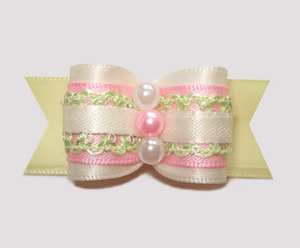 "#A7191 - 7/8"" Dog Bow - Baby Sweet! Cream with Pink"