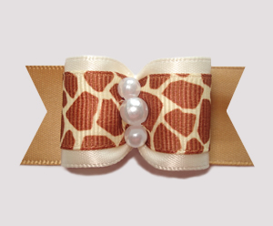"#A7195 - 7/8"" Dog Bow - Beautiful & Classic, Cream/Giraffe Print"
