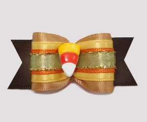 "#A7196 - 7/8"" Dog Bow - Beautiful Fall Colors, Candy Corn"