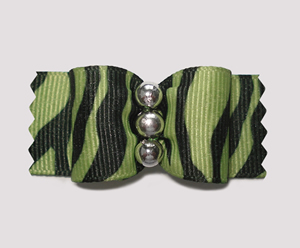 "#A7209 - 7/8"" Dog Bow - Cool Zebra, Green w/Black, Silver Beads"