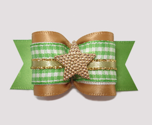 "#A7215 - 7/8"" Dog Bow - Old Gold/Green Gingham, I'm The Star!"
