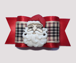 "#A7222 - 7/8"" Dog Bow - Classic Designer Plaid, Santa Claus"