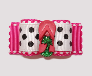 "#A7228 - 7/8"" Dog Bow- Palm Beach Chic, Hot Pink Bling Flip Flop"