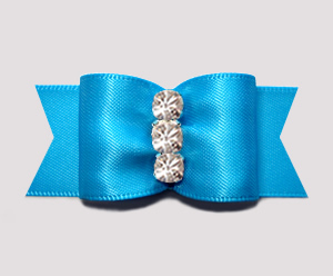 "#A7233 - 7/8"" Dog Bow - Beautiful Blue Satin, Rhinestones"