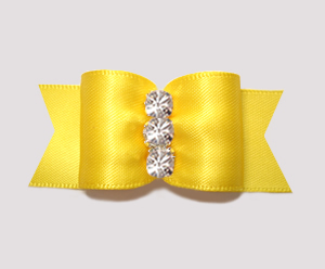 "#A7235 - 7/8"" Dog Bow - Brilliant Yellow Satin, Rhinestones"