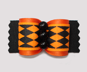 "#A7241 - 7/8"" Dog Bow - Halloween Jester, Orange/Black Diamonds"