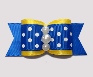 "#A7242 - 7/8"" Dog Bow - Adorable Nautical Yellow, Blue/White Dot"