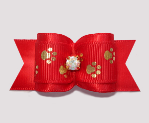 "#A7243 - 7/8"" Dog Bow - Sweet Little Golden Paws on Red"