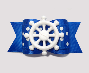 "#A7244 - 7/8"" Dog Bow - Classically Nautical, Blue/White, Wheel"