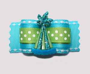 "#A7246 - 7/8"" Dog Bow - Polka Dot Sparkle, Party Hat, Blue/Green"