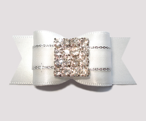 "#A7250 - 7/8"" Dog Bow - Gorgeous White Satin, Rhinestone Pave"