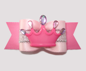 "#A7251 - 7/8"" Dog Bow - Princess Worthy, Pretty In Pink, Crown"