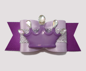 "#A7255 - 7/8"" Dog Bow - Regal Purple Satins with Silver, Crown"