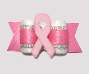 "#A7259 - 7/8"" Dog Bow- Pretty Pink/White/Silver with Pink Ribbon"