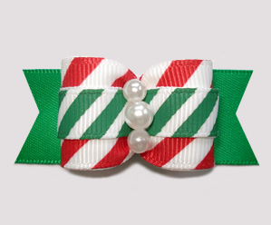 "#A7261- 7/8"" Dog Bow - Sweet Candy Cane Stripes, Red/White/Green"