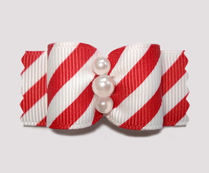 "#A7262 - 7/8"" Dog Bow - Sweet Red & White Candy Cane Stripes"