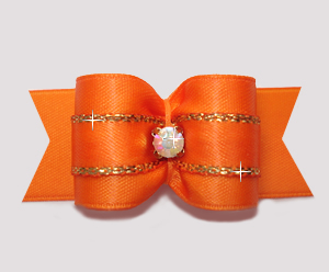 "#A7264 - 7/8"" Dog Bow - Gorgeous Vibrant Orange with Gold Accent"