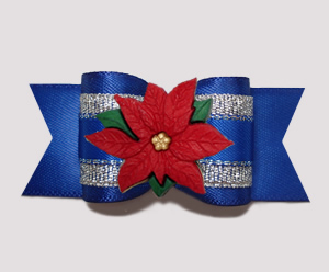 "#A7265 - 7/8"" Dog Bow - Winter Blue/Silver with Poinsettia"