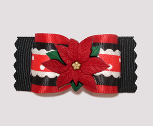 "#A7267 - 7/8"" Dog Bow - Holiday Ruffle, Red/Black, Poinsettia"