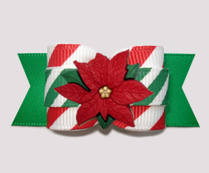 "#A7273 - 7/8"" Dog Bow - Sweet Candy Cane Stripes, Poinsettia"