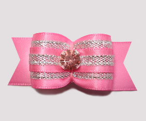 "#A7278 - 7/8"" Dog Bow - Gorgeous Pink/Silver with Pink Bling"