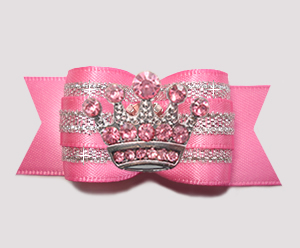 "#A7282 - 7/8"" Dog Bow - Gorgeous Princess, Pink Rhinestone Crown"
