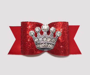 "#A7284 - 7/8"" Dog Bow - Classic Red Glitter, Rhinestone Crown"