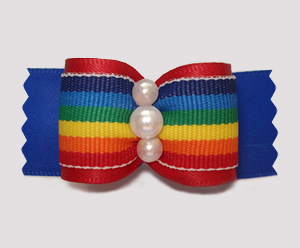 "#A7290 - 7/8"" Dog Bow - Fun Rainbow Stripes on Blue, Pearls"
