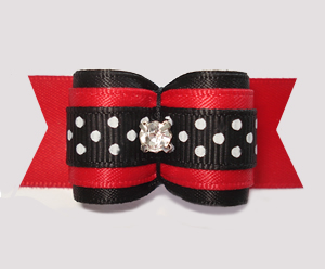 "#A7292 - 7/8"" Dog Bow - Dramatic Black/Red w/Dots, Rhinestone"